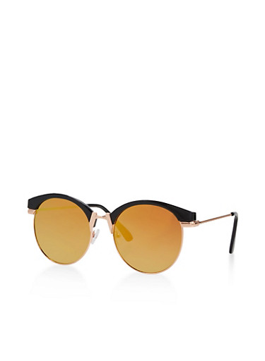 Round Mirrored Sunglasses,BLACK,large