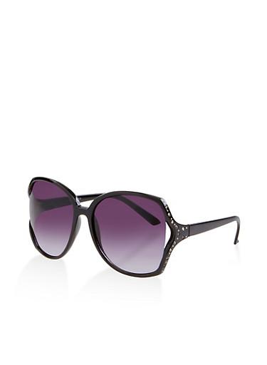 Rhinestone Open Side Square Sunglasses,BLACK,large