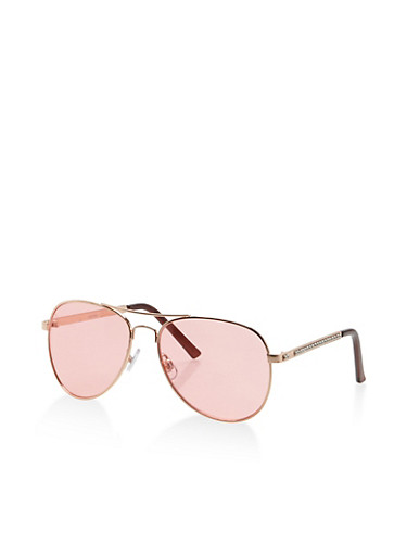 Colored Aviator Sunglasses,PINK,large