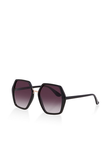 Geometric Metallic Nose Sunglasses,BLACK,large