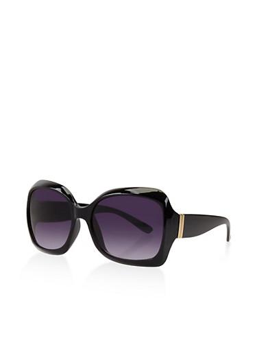 Large Square Sunglasses,BLACK,large