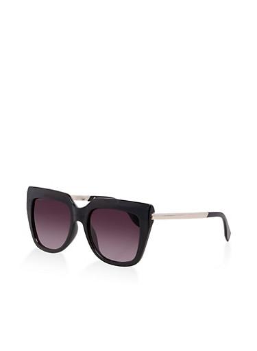 Metallic Arm Detail Square Sunglasses,BLACK,large