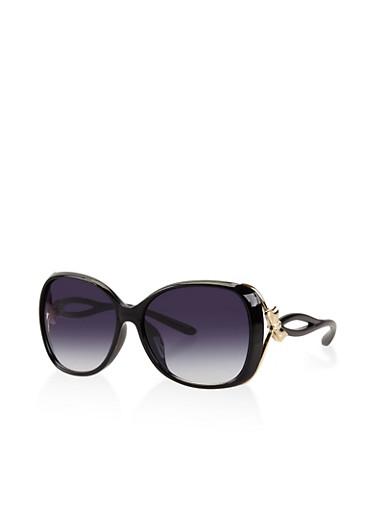 Metallic Bow Detail Sunglasses,BLACK,large