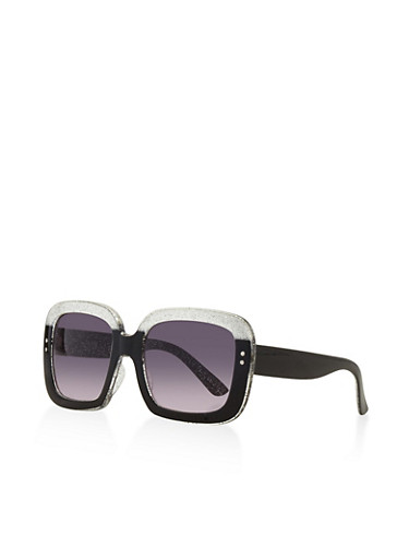 Square Glitter Plastic Sunglasses,BLACK,large