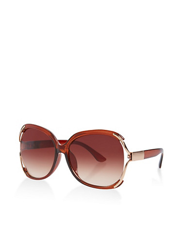 Open Side Plastic Sunglasses,BROWN,large