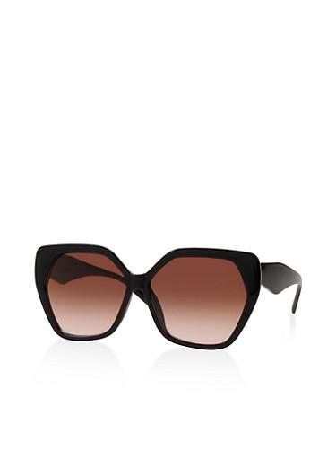 Plastic Geometric Sunglasses,BLACK,large