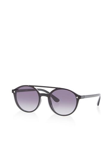 Floating Lens Top Bar Sunglasses,BLACK,large