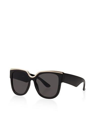 Metallic Trim Plastic Sunglasses,BLACK,large