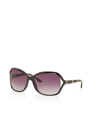 Metallic Side Detail Sunglasses,BLACK,large