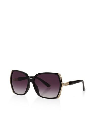 Rhinestone Detail Sunglasses,BLACK,large