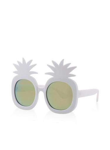Plastic Pineapple Sunglasses,WHITE,large