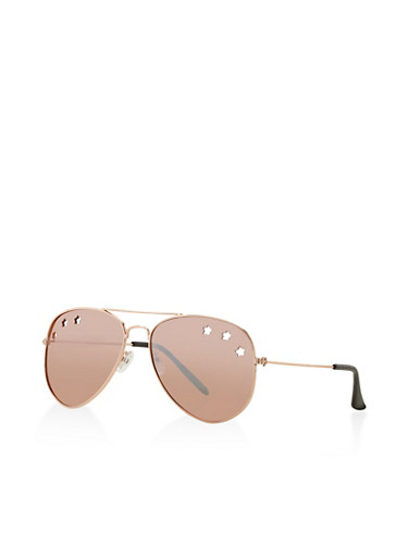 Star Cut Out Aviator Sunglasses,ROSE,large