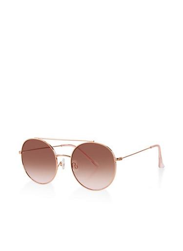 Round Metallic Top Bar Sunglasses,ROSE,large