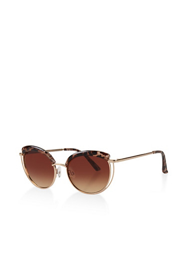 Metallic Double Frame Sunglasses,BROWN PTN,large