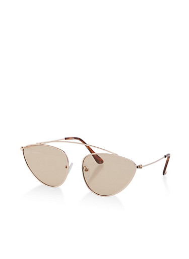 Curved Top Bar Sunglasses,BROWN,large