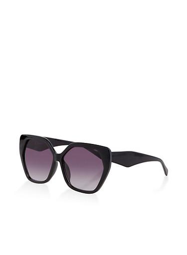 Geometric Plastic Sunglasses | 3133071228762,BLACK,large