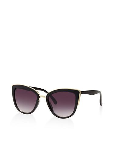 Metallic Trim Cat Eye Sunglasses,BLACK,large