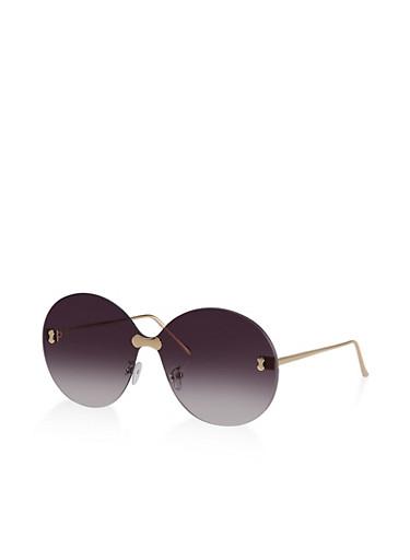 Round Rimless Sunglasses | 3133073210066,GRAY,large