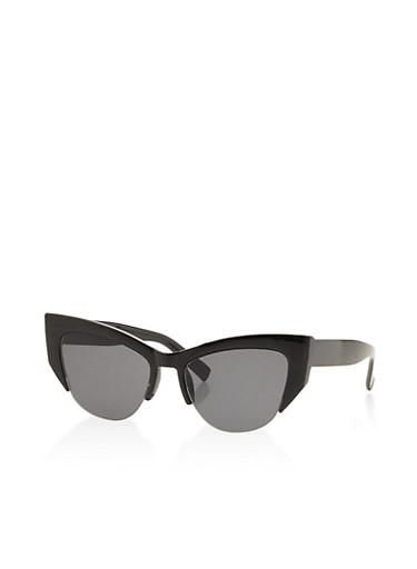 Cat Eye Half Rim Sunglasses,BLACK,large