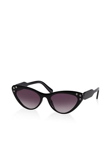 Colored Rhinestone Cat Eye Sunglasses,BLACK,large