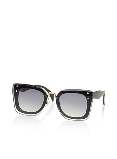 Square Double Frame Sunglasses,BLACK,large