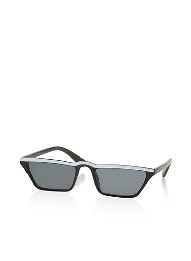 Painted Top Bar Sunglasses,BLACK,large