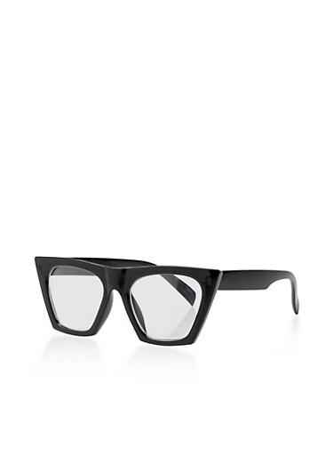 Clear Cat Eye Glasses,BLACK,large