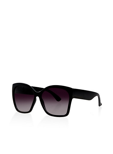 Large Square Plastic Sunglasses,BLACK,large