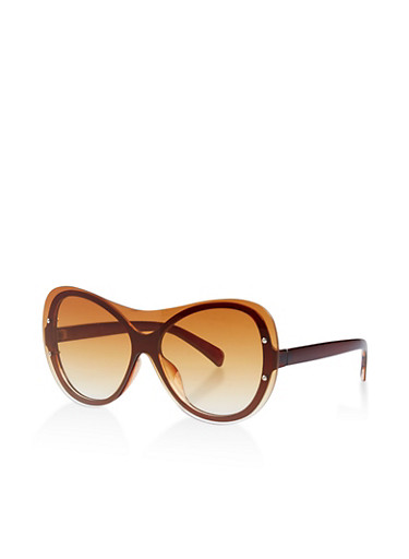 Rimless Colored Shield Sunglasses,BROWN,large