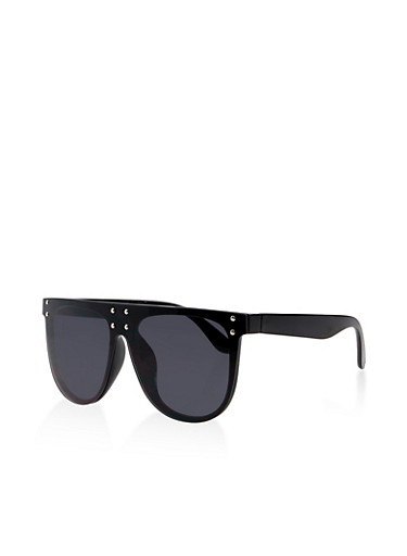 Rimless Studded Shield Sunglasses,BLACK,large