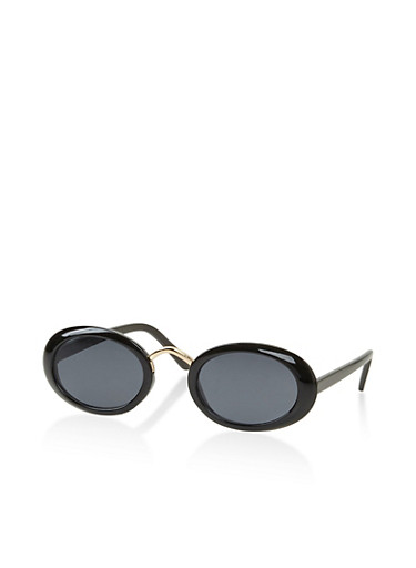Small Oval Sunglasses,BLACK,large