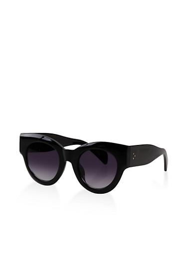 Round Cat Eye Sunglasses,BLACK,large