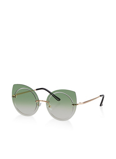 Rimless Cut Out Sunglasses,GREEN,large
