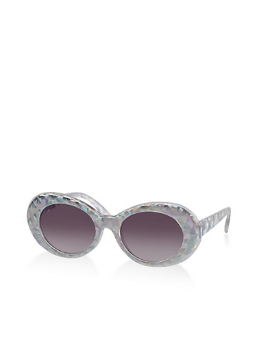 Holographic Oval Sunglasses,SILVER,large