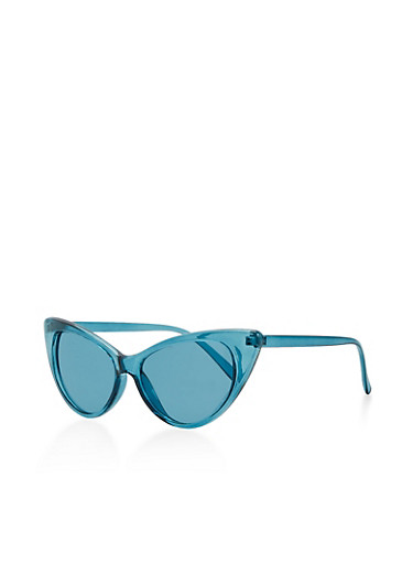 Cat Eye Colored Sunglasses,TEAL,large