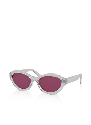 Plastic Geometric Colored Sunglasses,WHITE,large