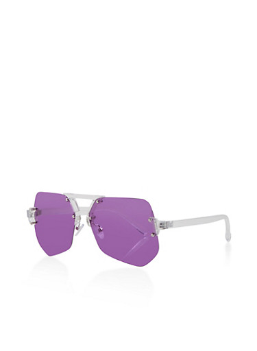 Rimless Geometric Colored Sunglasses,PURPLE,large