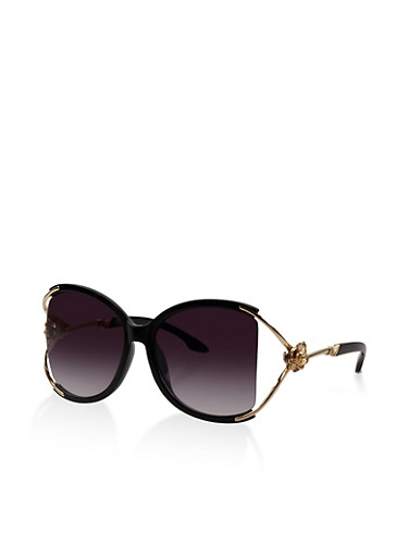 Metallic Rose Detail Cut Out Sunglasses,BLACK,large
