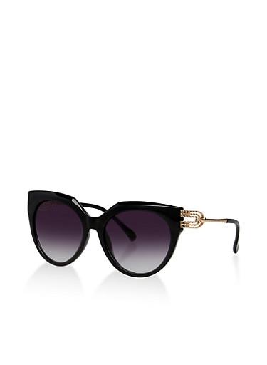 Hammered Metallic Arm Detail Sunglasses,BLACK,large