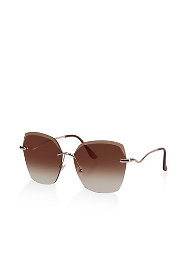 Wavy Arm Rimless Sunglasses,BROWN,large