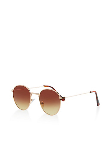 Small Colored Round Sunglasses,BROWN,large