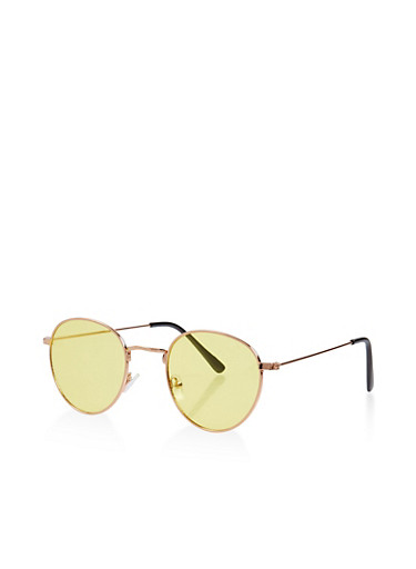Small Colored Round Sunglasses,YELLOW,large