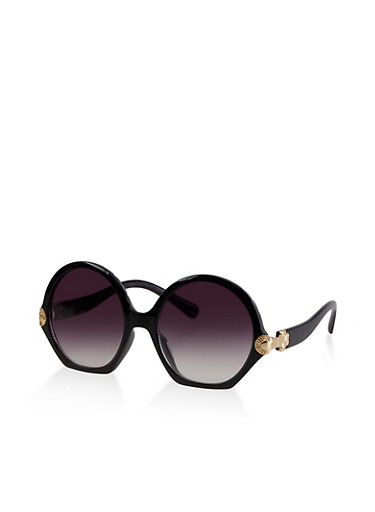 Metallic Shamrock Detail Sunglasses,BLACK,large