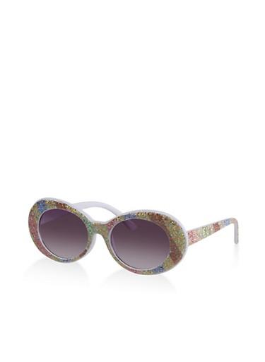 Rainbow Glitter Oval Sunglasses,WHITE,large