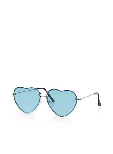 Heart Rimless Sunglasses,TURQUOISE,large