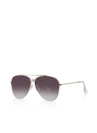 Half Rimless Aviator Sunglasses,GRAY,large