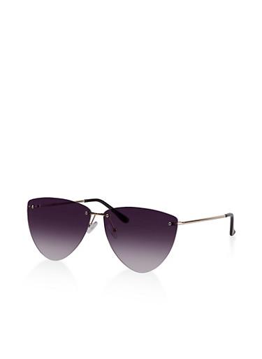 Rimless Triangular Sunglasses,BLACK,large