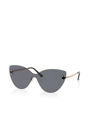 Rimless Shield Cat Eye Sunglasses,GRAY,large
