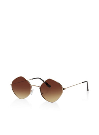 Geometric Colored Sunglasses,BROWN,large