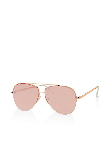 Rimless Aviator Sunglasses,ROSE,large
